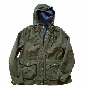 FOREVER 21 ARMY GREEN  ZIP HOODED CARGO JACKET